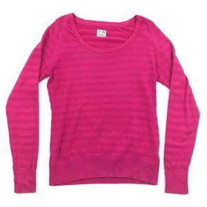 Adidas Sweater Cotton Hot Pink Stripe Athleisure M